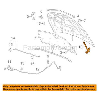 Aftermarket Replacement - HDH-1049L 2011-2015 Chevrolet Cruze & 2016 Cruze Limited (Diesel, Eco, L, LS, LT, LTZ) Front Hood Hinge Bracket Made of Steel Left Driver Side - Image 3