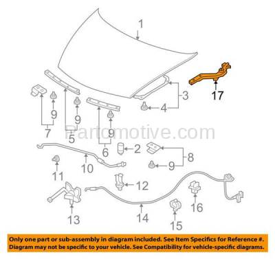 Aftermarket Replacement - HDH-1084R 2006-2011 Honda Civic (Coupe or Sedan) (1.3 & 1.8 & 2.0 Liter Engine) Front Hood Hinge Bracket Made of Steel Right Passenger Side - Image 3