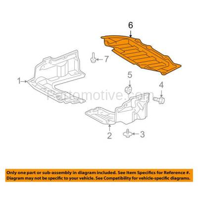 Aftermarket Replacement - ESS-1627 09-14 Matrix Front Engine Splash Shield Under Cover Guard TO1228155 5145102050 - Image 3