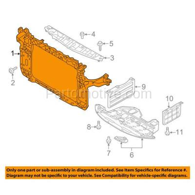 Aftermarket Replacement - RSP-1455 2011-2016 Kia Sportage (Base, EX, EX Luxury, LX, SX) (2.0 & 2.4 Liter Engine) Front Center Radiator Support Core Assembly Primed Steel - Image 3