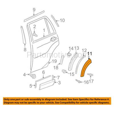 Aftermarket Replacement - FDT-1071R 01-05 RAV4 Rear Fender Molding Moulding Trim Arch Right Passenger Side TO1509101 - Image 3