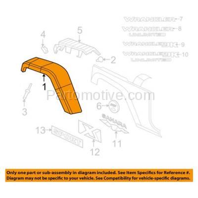 Aftermarket Replacement - FDF-1015L 07-17 Wrangler JK Front Fender Flare Wheel Opening Molding Trim Arch Driver Side - Image 3