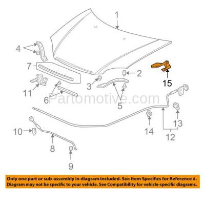 Aftermarket Replacement - HDH-1088L 2001-2005 Honda Civic & 2002-2006 CR-V & 2003-2011 Element (1.3 & 1.7 & 2.4 Liter Engine) Front Hood Hinge Bracket Steel Left Driver Side - Image 3