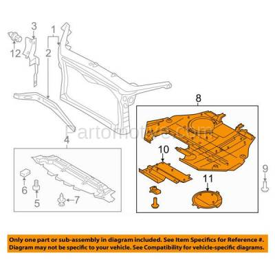 Aftermarket Replacement - ESS-1146 Fusion, Milan, MKZ 2.5L Engine Splash Shield Under Cover FO1228112 9E5Z5410494A - Image 3