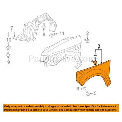 Aftermarket Replacement - FDR-1244L 2003-2005 Honda Element EX (2.4 Liter Engine) Front Fender Quarter Panel Cladding Plastic Textured Gray Left Driver Side - Image 3