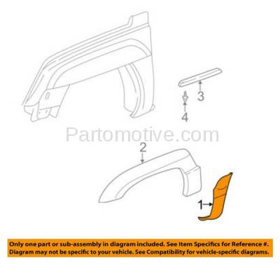 Aftermarket Replacement - FDT-1044R 03-06 Avalanche Fender Molding Moulding Trim Cladding Passenger Side GM1293112 - Image 3