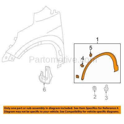 Aftermarket Replacement - FDF-1046R 12-15 CRV Front Fender Flare Wheel Opening Molding Trim Right Passenger Side RH - Image 3