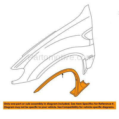Aftermarket Replacement - FDT-1013R 00-06 X5 Front Fender Molding Moulding Trim Passenger Side BM1269100 51718408704 - Image 3