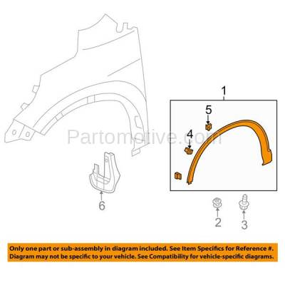 Aftermarket Replacement - FDF-1046L 12-15 CRV Front Fender Flare Wheel Opening Molding Trim Arch Left Driver Side LH - Image 3
