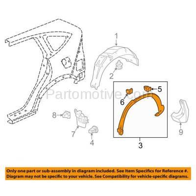 Aftermarket Replacement - FDT-1052R 12-15 CRV Rear Fender Molding Moulding Trim Arch Right Passenger Side HO1791104 - Image 3