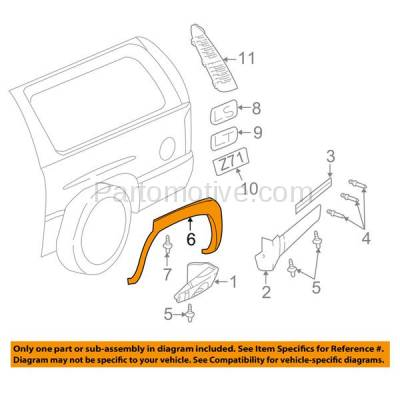Aftermarket Replacement - FDF-1042R 00-06 Chevy Tahoe Rear Fender Flare Wheel Opening Molding Trim RH Passenger Side - Image 3