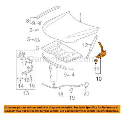 Aftermarket Replacement - HDH-1170R 2007-2011 Toyota Camry (2.4 & 2.5 & 3.5 Liter Engine) (Models Made in USA) Front Hood Hinge Bracket Made of Steel Right Passenger Side - Image 3