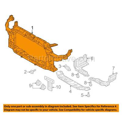 Aftermarket Replacement - RSP-1397 2011-2014 Hyundai Elantra (1.8 & 2.0 Liter Engine) (Models Made in Korea) Front Radiator Support Core Assembly Primed Plastic with Steel - Image 3