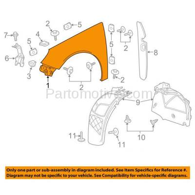 Aftermarket Replacement - FDR-1614LC CAPA 2012-2017 Buick Regal (2.0L & 2.4L Engine) Front Fender Quarter Panel (without Turn Signal Lamp Hole) Primed Steel Left Driver Side - Image 3
