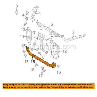 Aftermarket Replacement - RSP-1626 2008-2013 Nissan Rogue & 2014 2015 Rouge Select 2.5L Front Radiator Support Lower Crossmember Tie Bar Panel Primed Steel - Image 3