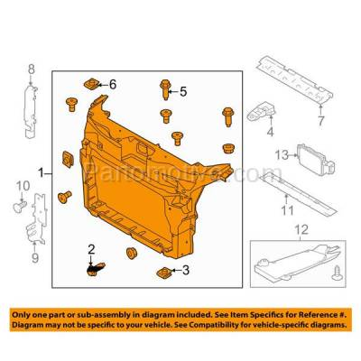 Aftermarket Replacement - RSP-1179 2011-2015 Ford Explorer (Base, Limited, Sport, XLT) (2.0 & 3.5 Liter) Front Center Radiator Support Core Assembly Primed Made of Plastic - Image 3
