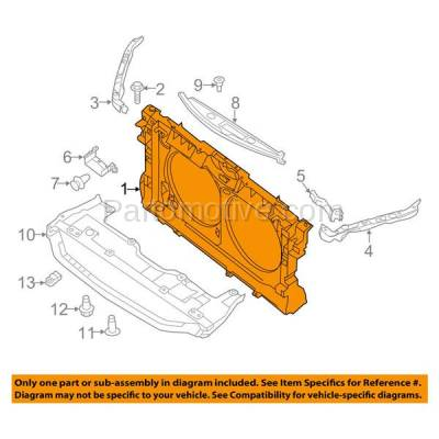 Aftermarket Replacement - RSP-1595 2013-2015 Nissan Altima (Base, S, SL, SV) Sedan 4-Door (2.5 Liter) Front Center Radiator Support Core Assembly Plastic with Steel - Image 3