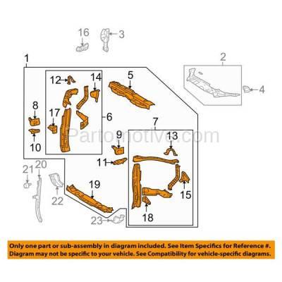 Aftermarket Replacement - RSP-1758 2008-2010 Toyota Highlander (Sport Utility 4-Door) (2.7 & 3.5 Liter Engine) Front Center Radiator Support Core Assembly Primed Steel - Image 3