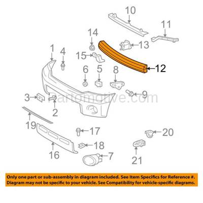 Aftermarket Replacement - BRF-1826F 2008-2019 Toyota Sequoia & 2007-2019 Tundra (without Laser Cruise Control) (4WD & RWD) Front Bumper Impact Face Bar Reinforcement Aluminum - Image 3