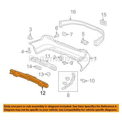 Aftermarket Replacement - BRF-1404R 2003-2005 Honda Accord Sedan 4-Door (USA Built Models) Rear Bumper Impact Face Bar Crossmember Reinforcement Primed Steel - Image 3