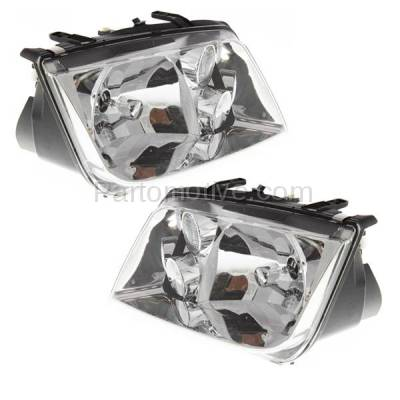 Aftermarket Replacement - HLT-1001L & HLT-1001R 99-02 Jetta w/o Fog Lamp Headlight Headlamp Head Light Lamp Left Right Side SET PAIR - Image 2