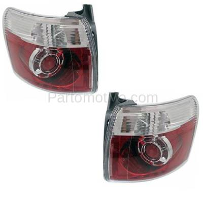 Aftermarket Auto Parts - TLT-1621LC & TLT-1621RC CAPA 2007-2012 GMC Acadia 3.6L Outer Body Mounted Taillight Rear Brake Light (with Bulb) Red Clear Lens & Housing SET PAIR Left & Right Side - Image 2