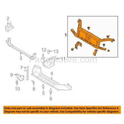Aftermarket Replacement - RSP-1197 2008-2011 Ford Focus (Coupe & Hatchback & Sedan) Front Center Radiator Support Core Assembly Primed Made of Steel - Image 3