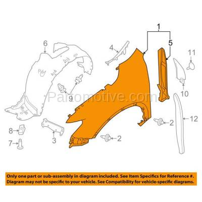 Aftermarket Replacement - FDR-1623RC CAPA 2014-2019 Nissan Rogue (2.0 & 2.5 Liter Engine) Front Fender Quarter Panel (without Molding Holes) Primed Steel Right Passenger Side - Image 3