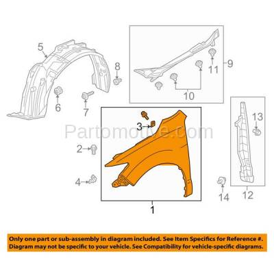 Aftermarket Replacement - FDR-1612RC CAPA 2013-2018 Acura RDX (3.5 Liter V6 Engine) Front Fender Quarter Panel (without Molding Holes) Primed Steel Right Passenger Side - Image 3