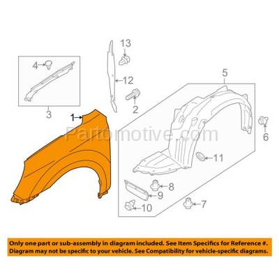 Aftermarket Replacement - FDR-1543LC CAPA 2010-2014 Subaru Outback (2.5 & 3.6 Liter Engine) Front Fender Quarter Panel (without Molding Holes) Steel Left Driver Side - Image 3