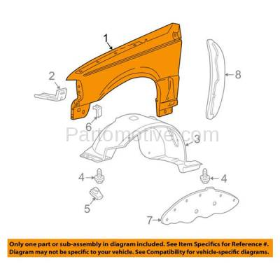 Aftermarket Replacement - FDR-1601R 1998-2003 Ford Ranger Pickup (2WD & 4WD) Front Fender Quarter Panel (with Wheel Opening Molding Holes) Steel Right Passenger Side - Image 3