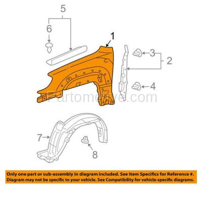 Aftermarket Replacement - FDR-1017R 2006-2009 Toyota 4Runner (Limited, Sport, SR5) Front Fender Quarter Panel (with Mudguard Provision) Steel Right Passenger Side - Image 3