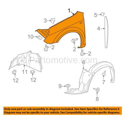 Aftermarket Replacement - FDR-1089LC CAPA 2007-2009 Saturn Aura (2.4 & 3.5 & 3.6 Liter) Front Fender Quarter Panel (with Turn Signal Light Hole) Steel Left Driver Side - Image 3