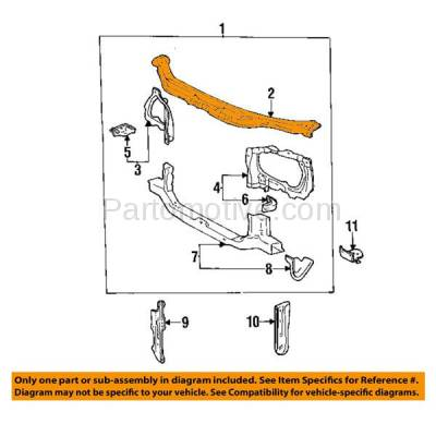 Aftermarket Replacement - RSP-1750 1993-1997 Toyota Corolla (All Trac, Base, CE, DX, LE) Sedan & Wagon 1.6L/1.8L Front Radiator Support Upper Crossmember Tie Bar Steel - Image 3