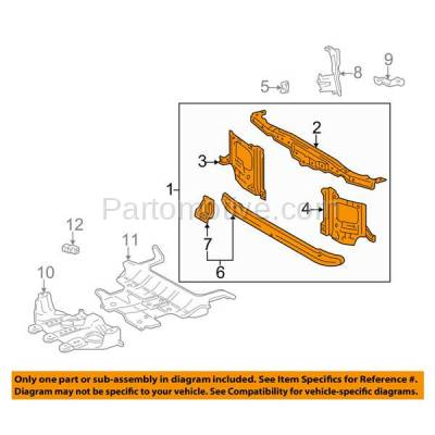 Aftermarket Replacement - RSP-1764 2003-2007 Lexus LX470 & Toyota Land Cruiser (4.7 Liter V8 Engine) Front Center Radiator Support Core Assembly Primed Made of Steel - Image 3