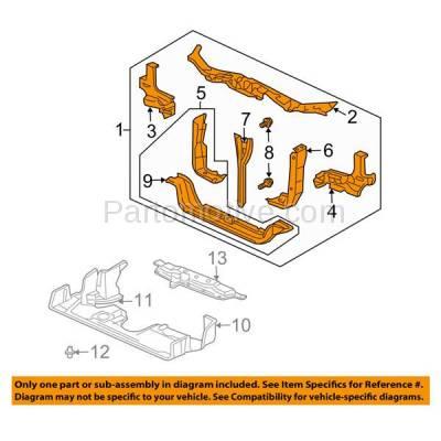 Aftermarket Replacement - RSP-1377 2003-2004 Honda Pilot (EX, LX) Sport Utility 4-Door (3.5 Liter V6 Engine) Front Center Radiator Support Core Assembly Primed Steel - Image 3