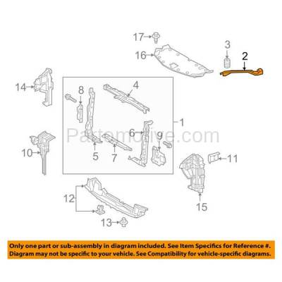 Aftermarket Replacement - RSP-1471R 2015-2018 Lexus NX200t/NX300/NX300h (Base & F Sport) Radiator Support Upper Tie Bar Bracket Brace Panel Steel Right Passenger Side - Image 3