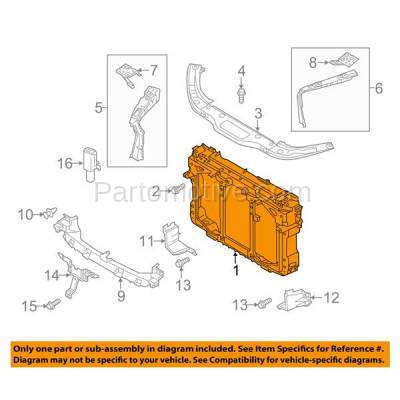 Aftermarket Replacement - RSP-1482 2014-2016 Mazda CX-5 (Grand Touring, GS, GT, GX, Sport, Touring) (2.0L & 2.5L) Front Center Radiator Support Core Assembly Primed Plastic - Image 3