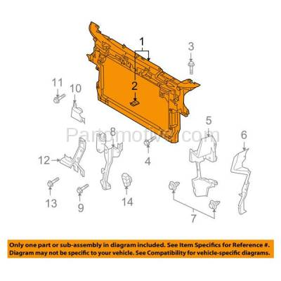 Aftermarket Replacement - RSP-1484 2007-2015 Maxda CX-9 (Grand Touring, GS, GT, Sport, Touring) Front Center Radiator Support Core Assembly Made of Plastic with Steel - Image 3