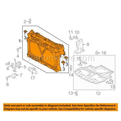 Aftermarket Replacement - RSP-1491 2013-2017 Mazda 5 (Grand Touring, GS, GT, Sport, Touring) 2.5L (Passenger Van) Front Center Radiator Support Core Assembly Plastic - Image 3