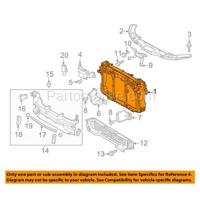 Aftermarket Replacement - RSP-1495 2014-2018 Mazda 3 & 2014-2017 Mazda3 Sport, Mazda6 (without Smart City Brake System & Radar Cruise Control) Radiator Support Assembly - Image 3