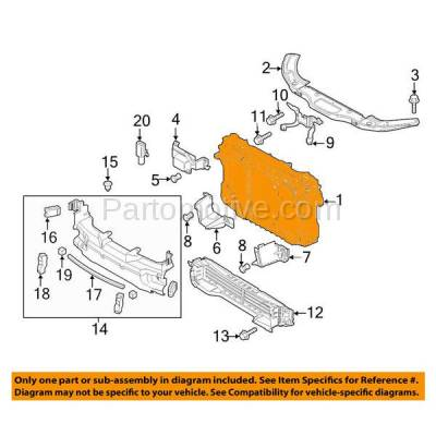 Aftermarket Replacement - RSP-1496 2014-2018 Mazda 3 & 2014-2017 Mazda3 Sport, Mazda6 with Smart City Brake System (w/o Radar Cruise Control) Radiator Support Assembly - Image 3