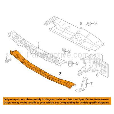 Aftermarket Replacement - RSP-1653C CAPA 2014-2018 Nissan Versa Note (S, S Plus, SL, SR, SV) (Manual Trans.) Front Center Radiator Support Lower Crossmember Tie Bar Steel - Image 3