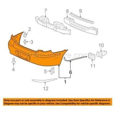 Aftermarket Replacement - BUC-2046R 05-09 LaCrosse Rear Bumper Cover Assembly w/Park Sensor Holes GM1100709 12336062 - Image 3