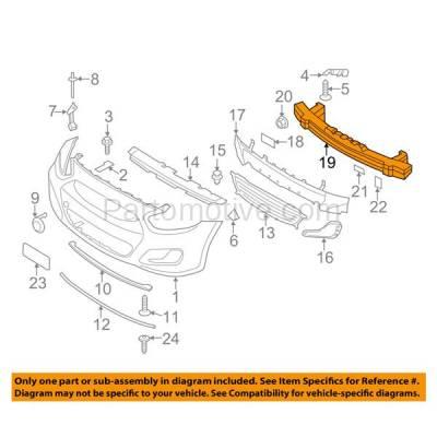 Aftermarket Replacement - BRF-1453F 2012-2017 Hyundai Accent 1.6L (Hatchback & Sedan 4-Door) Front Bumper Impact Face Bar Crossmember Reinforcement Primed Steel - Image 3