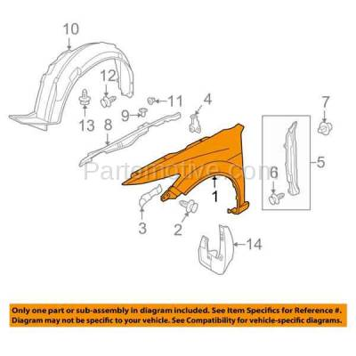 Aftermarket Replacement - FDR-1782LC CAPA 2009-2014 Acura TSX (Sedan & Wagon 4-Door) (2.4L 3.5L 4Cyl/6Cyl Engine) Front Fender Quarter Panel Primed Steel Left Driver Side - Image 3