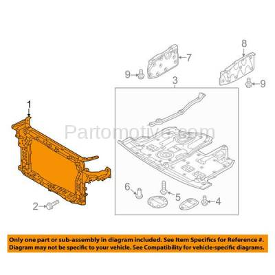 Aftermarket Replacement - RSP-1405 2013-2018 Hyundai Santa Fe Sport (2.0 Liter Engine) Front Center Radiator Support Core Assembly Primed Made of Plastic with Steel - Image 3