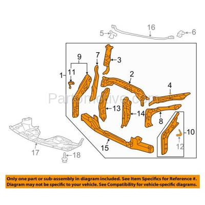 Aftermarket Replacement - RSP-1373 2005-2007 Honda Odyssey (EX, EX-L, EXL, LX, Touring) (3.5 Liter V6 Engine) Front Center Radiator Support Core Assembly Primed Steel - Image 3