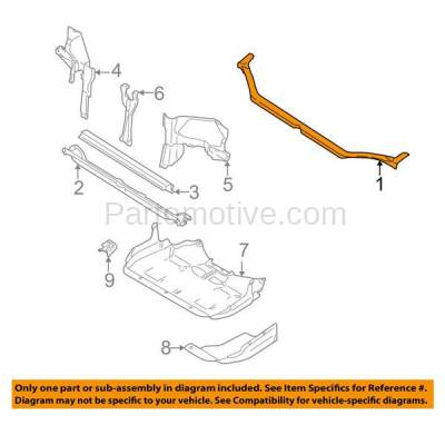 Aftermarket Replacement - RSP-1690 2000-2004 Subaru Legacy & Outback & 2003-2006 Baja (2.5L & 3.0L) Front Radiator Support Upper Crossmember Tie Bar Primed Steel - Image 3