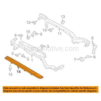Aftermarket Replacement - RSP-1160 2015-2018 Ford Edge & 2016-2018 Lincoln MKX Front Radiator Support Lower Crossmember Tie Bar Primed Made of Steel - Image 3